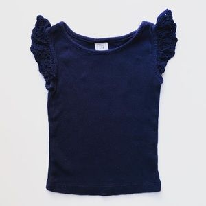 The Flutter Sleeve Ribbed Tank in Navy